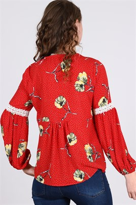 11188 -   Wholesale Blouses -4 Pcs (M L XL XXL) - Red